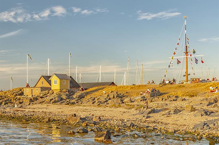 Strand med hamn i bakgrund Torekov