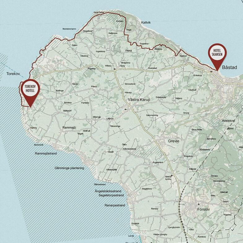 Karta vandringsled mellan Torekov Hotell och Hotel Skansen